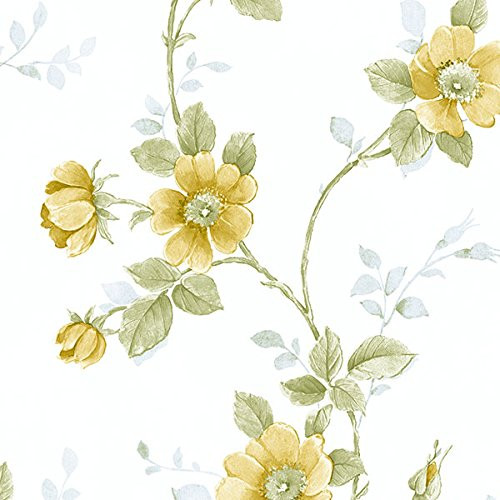 Norwall Rose Garden 2 RG35730 Poppy Wallpaper Yellow, Green, Blue