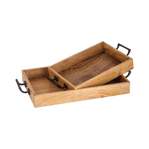 Elk 609657 Pomeroy Woodridge Set of 2 Trays Mango Wood
