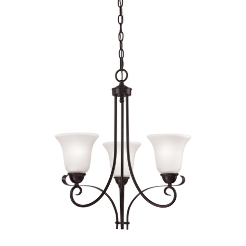 Brighton 3-Light Chandelier in Oil Rubbed Bronze and White Glass by Elk 1053CH/10