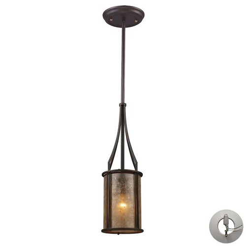 Barringer 1 Light Pendant And Tan Glass Mica Shade by ELK 15033/1-LA