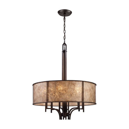 Barringer 6 Light Pendelier In Aged Bronze And Tan Mica Shade by ELK 15034/6