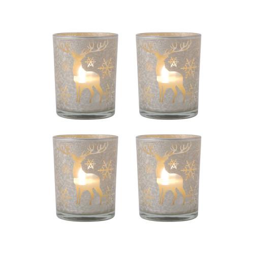 Elk 394607/S4 Pomeroy Reindeer Set of 4 Pillar Holders Silver Art