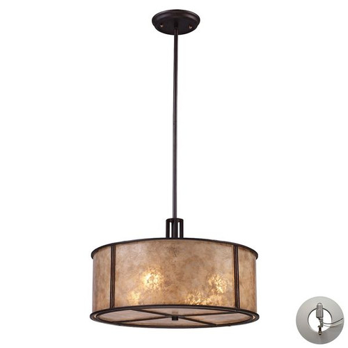 Barringer 4 Light Pendant In Aged Bronze And Tan Glass Mica Shade by ELK 15032/4-LA
