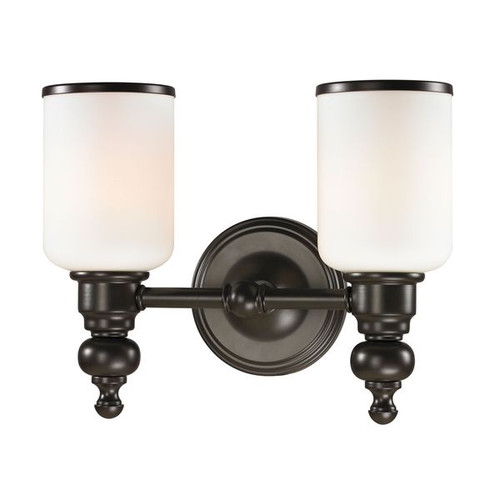 Bristol Way 2 Light Vanity In Oil Rubbed Bronze And Opal White Glass ELK 11591/2