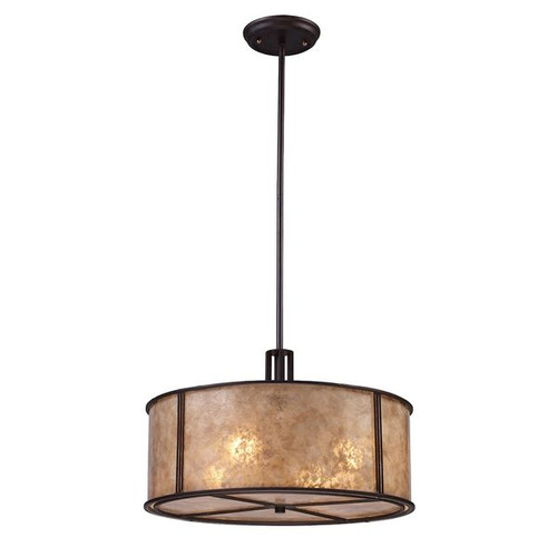 Barringer 4 Light Pendant In Aged Bronze And Tan Mica Shade by ELK 15032/4