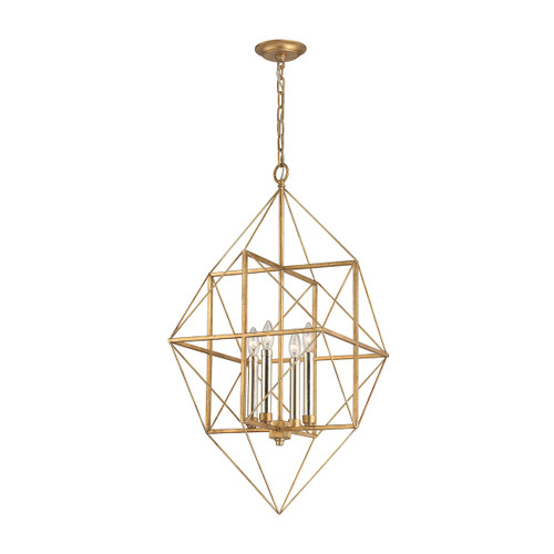Dimond lighting 1141-005 Connexions 4 Light Pendant In Antique Gold And Silver Leaf