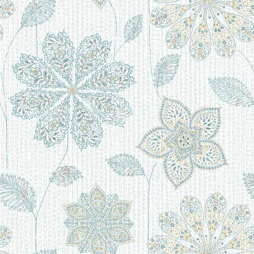 NuWallpaper by Brewster NU1697 Gypsy Floral Blue/Green Peel & Stick Wallpaper