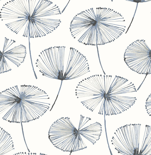 A-Street Prints by Brewster 2656-004025 Paradise Navy Fronds Wallpaper