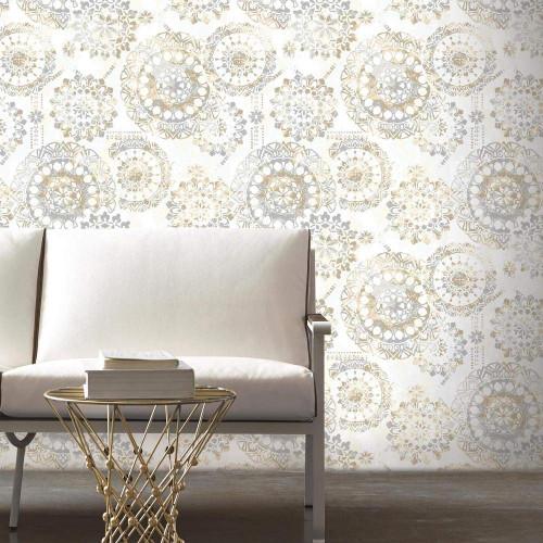 RoomMates RMK9122WP Bohemian Tan/Blue Peel & Stick Wallpaper Tan/Blue