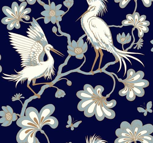 York Wallcoverings FB1452 Florence Broadhurst Egrets Wallpaper Navy