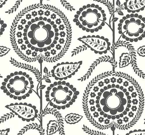 York Wallcoverings SS2583 Silhouettes Pomegranate Bloom Wallpaper Black/White