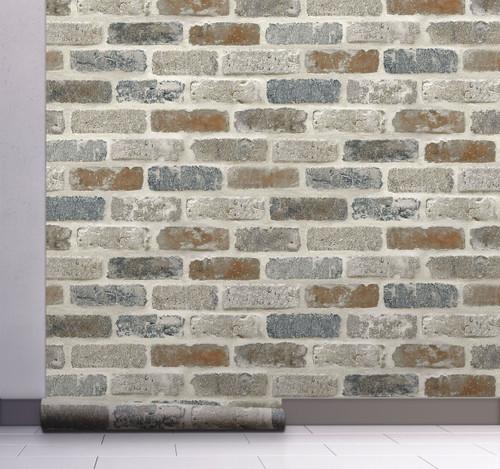 GW1003 Washed Faux Brick Wallpaper Peel & Stick  White / Gray / Brown
