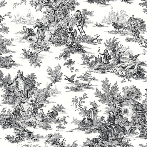 York Wallcoverings Black & White AT4228 Champagne Toile Wallpaper, White