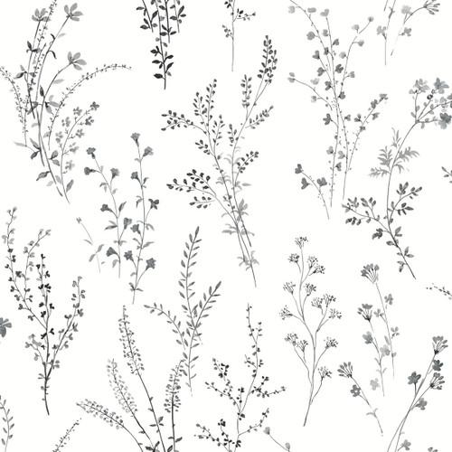 York Wallcoverings FH4026 Wildflower Sprigs Wallpaper Black/White