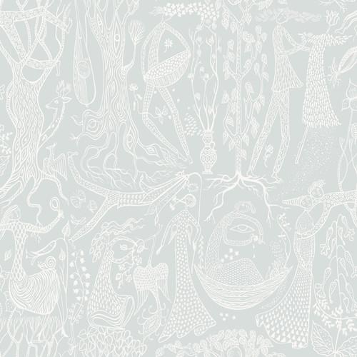 Wall Vision by Brewster WV1761 Scandinavian Designers II Poem d ´Amour Sage Folk Wallpaper