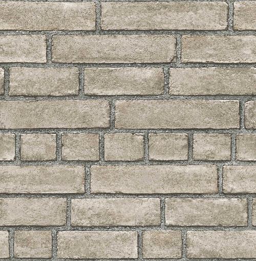A-Street Prints by Brewster 2540-24052 Restored Façade Taupe Brick Wallpaper