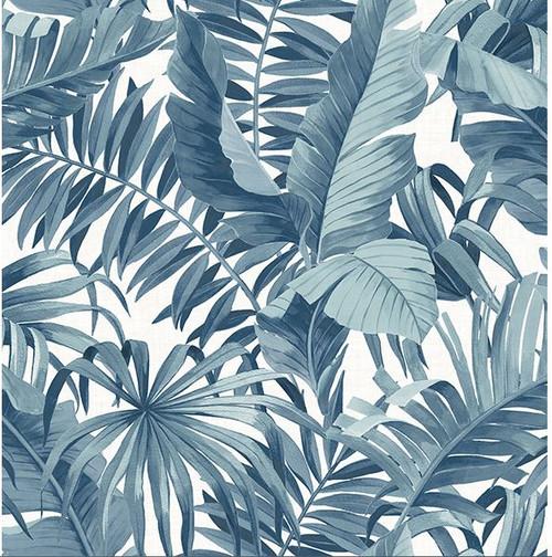 A-Street Prints 2744-24133 Alfresco Navy Palm Leaf Wallpaper