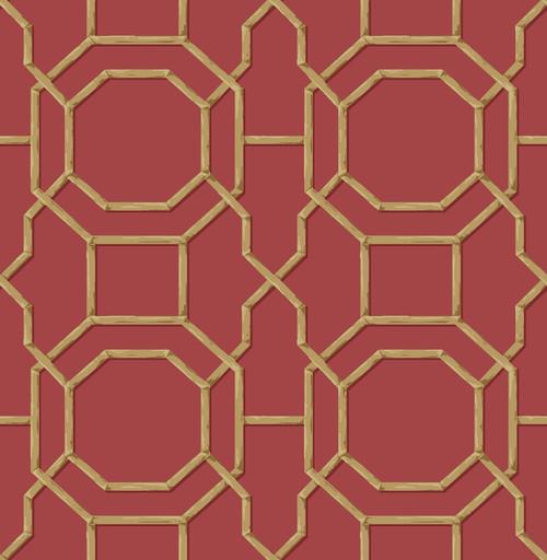 Beacon House by Brewster 2669-21739 Empress Summer Red Trellis Wallpaper