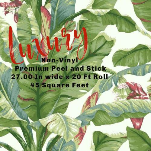 Grace & Gardenia Tropical Banana Leaf on White 27 inch Peel and Stick Premium wallpaper