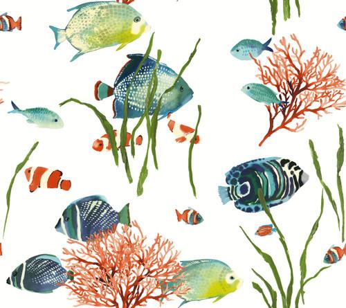 Grace & Gardenia Tropical Fish Wallpaper White  27 in   Peel and Stick wallpaper