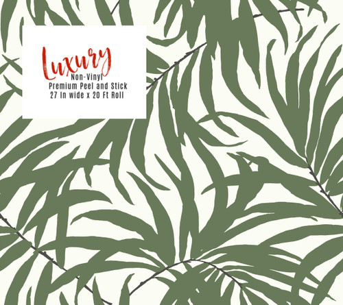 """Grace & """"Gardenia Tropical Areca Palm Leaves Green on White Peel and Stick Wallpaper 27"""" x 20'"""