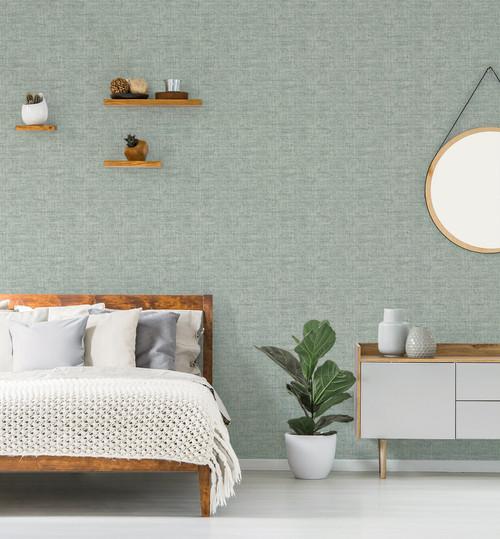 "Grace & Gardenia Tropical Blue Faux Grasscloth Peel and Stick Wallpaper 27""x20'"