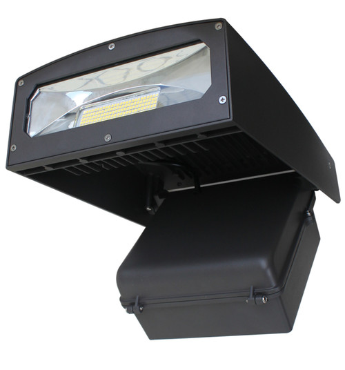 Commercial Wall Pack LED 100W Adjustable Angle 5000K Cool White IP65 Outdoor, Area and Security Lighting