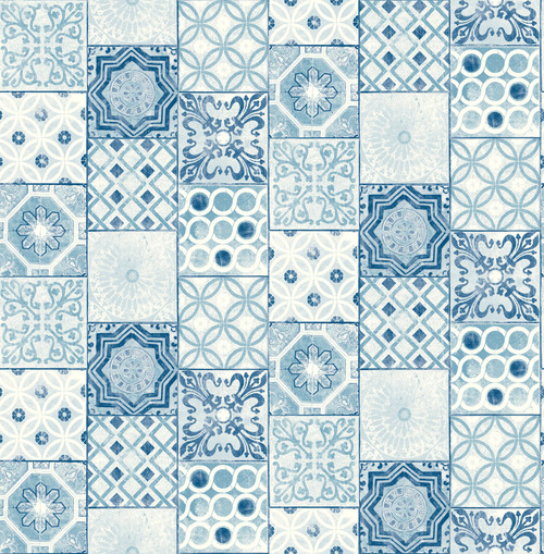 Grace & Gardenia Blue and White Mosaic Tile GW2009W  Peel and Stick Wallpaper