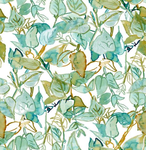 Grace & Gardenia GY2003D Tropical Leaf Trellis Peel & Stick Wallpaper  Blue  Green