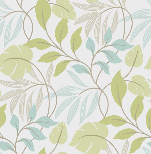 NuWallpaper by Brewster NUW1657 Blue and Green Meadow Peel & Stick Wallpaper