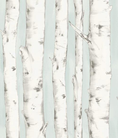 Chesapeake by Brewster 3118-12602 Birch & Sparrow Pioneer Light Blue Birch Tree Wallpaper