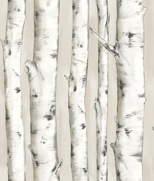 Chesapeake by Brewster 3118-12601 Birch & Sparrow Pioneer Off-White Birch Tree Wallpaper