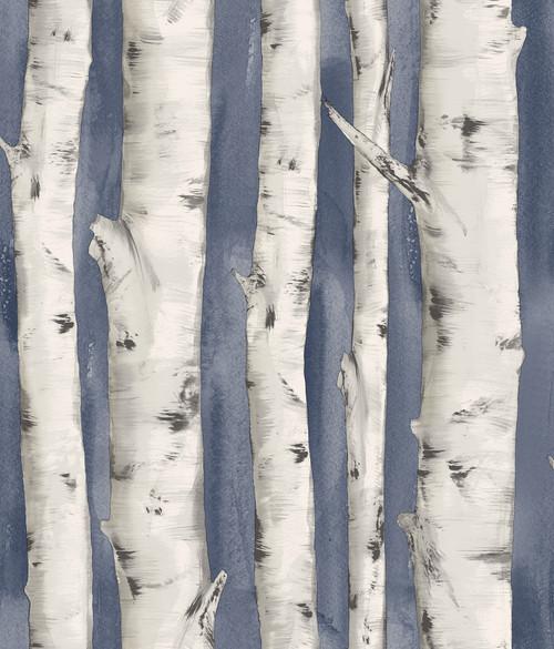 Chesapeake by Brewster 3118-12604 Birch & Sparrow Pioneer Denim Birch Tree Wallpaper