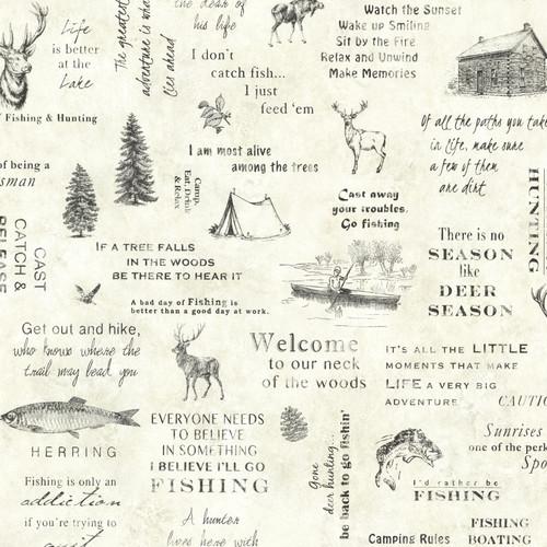 Chesapeake by Brewster TLL01471 Echo Lake Lodge North Hills Cream Script Wallpaper