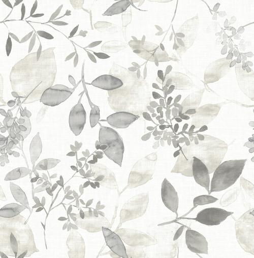 A-Street Prints by Brewster 2716-23867 Eclipse Gossamer Grey Botanical Wallpaper