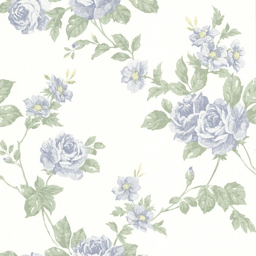 Beacon House by Brewster 302-66878 Bloom Blue Floral Trail Wallpaper