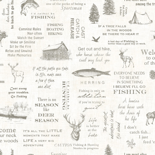 Chesapeake by Brewster 3118-01473 Birch & Sparrow North Hills Off-White Camping Quotes Wallpaper