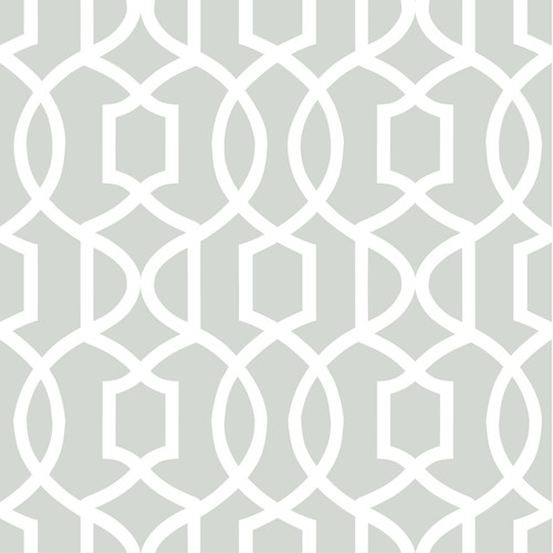 NuWallpaper by Brewster NU1421 Grey Grand Trellis Peel & Stick Wallpaper