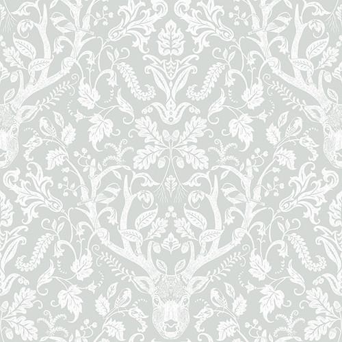 Chesapeake by Brewster 3118-12702 Birch & Sparrow Kiwassa Grey Antler Damask Wallpaper