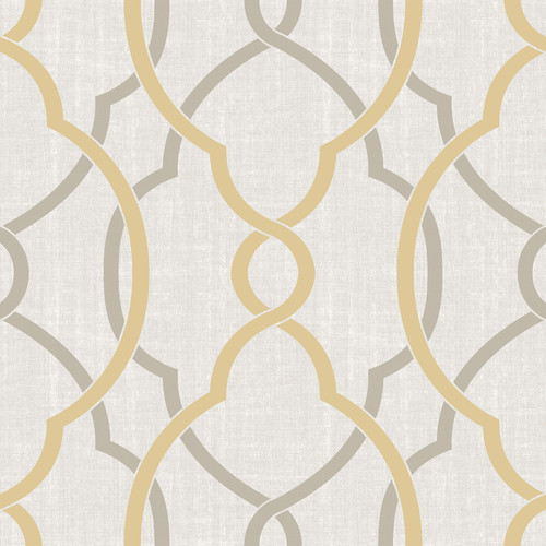 NuWallpaper by Brewster NU1695 Sausalito Taupe/Yellow Peel & Stick Wallpaper