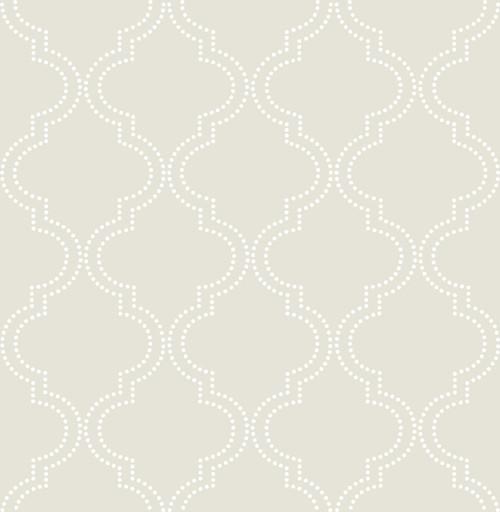NuWallpaper by Brewster NU1425 Taupe Quatrefoil Peel & Stick Wallpaper