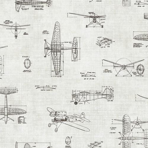 Chesapeake by Brewster MAN02721 Gentlemen's Quarters Douglas Black Vintage Planes Wallpaper