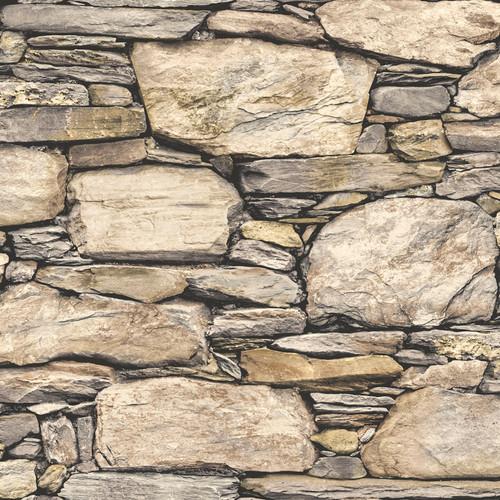 NuWallpaper by Brewster NU2065 Hadrian Stone Wall Brown Texture Peel & Stick Wallpaper