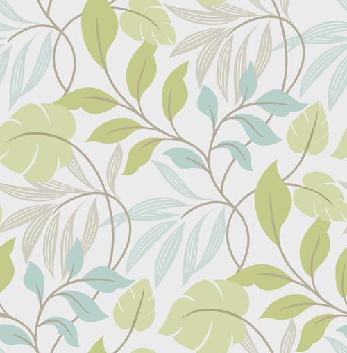 NuWallpaper by Brewster NU1657 Blue and Green Meadow Peel & Stick Wallpaper