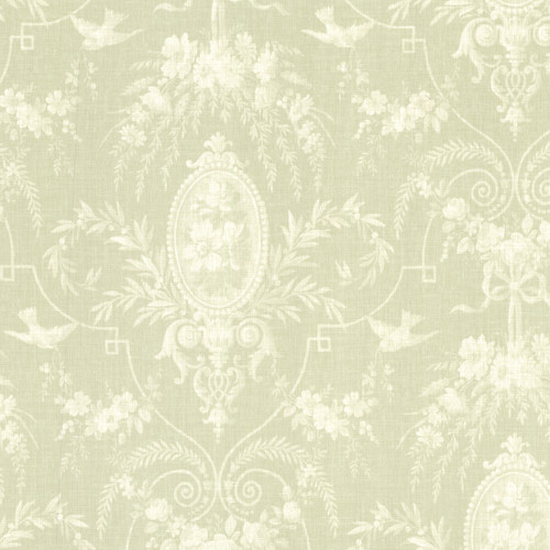 Beacon House by Brewster 302-66817 Flourish Green Cameo Fleur Wallpaper