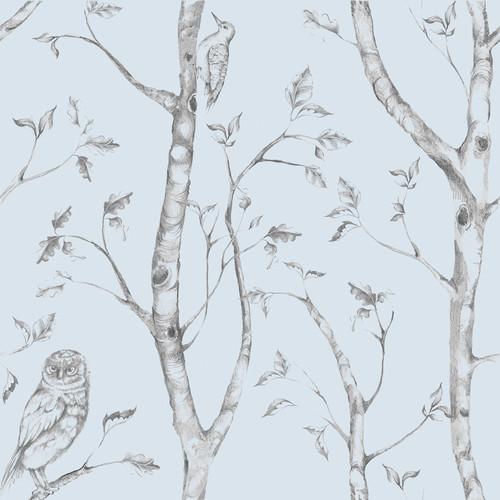 NuWallpaper by Brewster NU1413 Blue Woods Peel & Stick Wallpaper