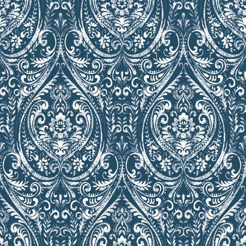 NuWallpaper by Brewster NU1689 Bohemian Damask Indigo Peel & Stick Wallpaper