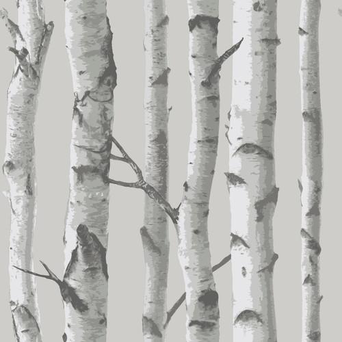 NuWallpaper by Brewster NU1694 Mountain Birch Grey Peel & Stick Wallpaper