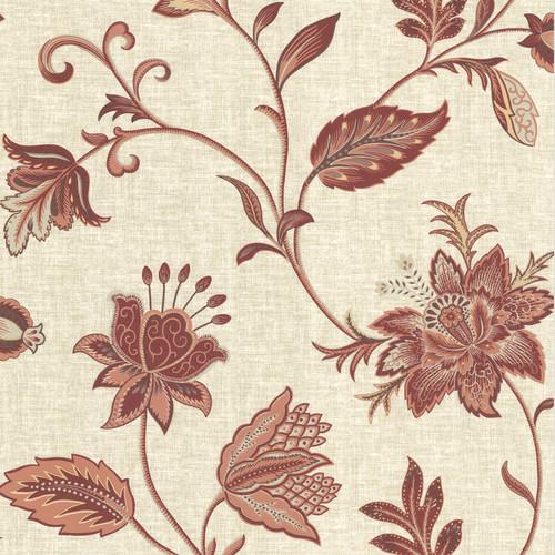 Beacon House by Brewster 302-66822 Heritage Salmon Jacobean Flower Wallpaper