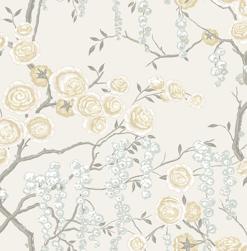 A-Street Prints by Brewster 2785-24833 Citrine Peony Tree Wallpaper Multi-Color
